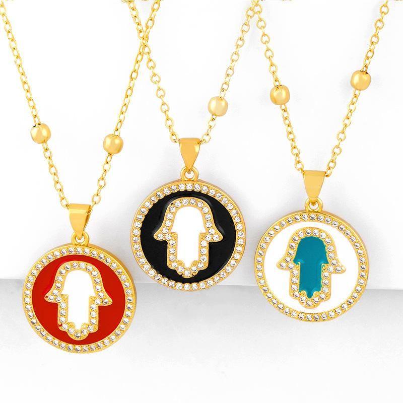 New accessories women's necklace oil drop diamond round pendant necklace wholesals fashion NHAS200959