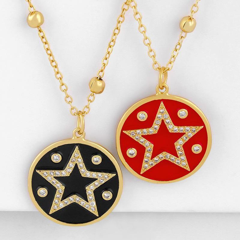 Fashion women's necklace new fashion star moon pentagram oil drop necklace wholesale NHAS200960