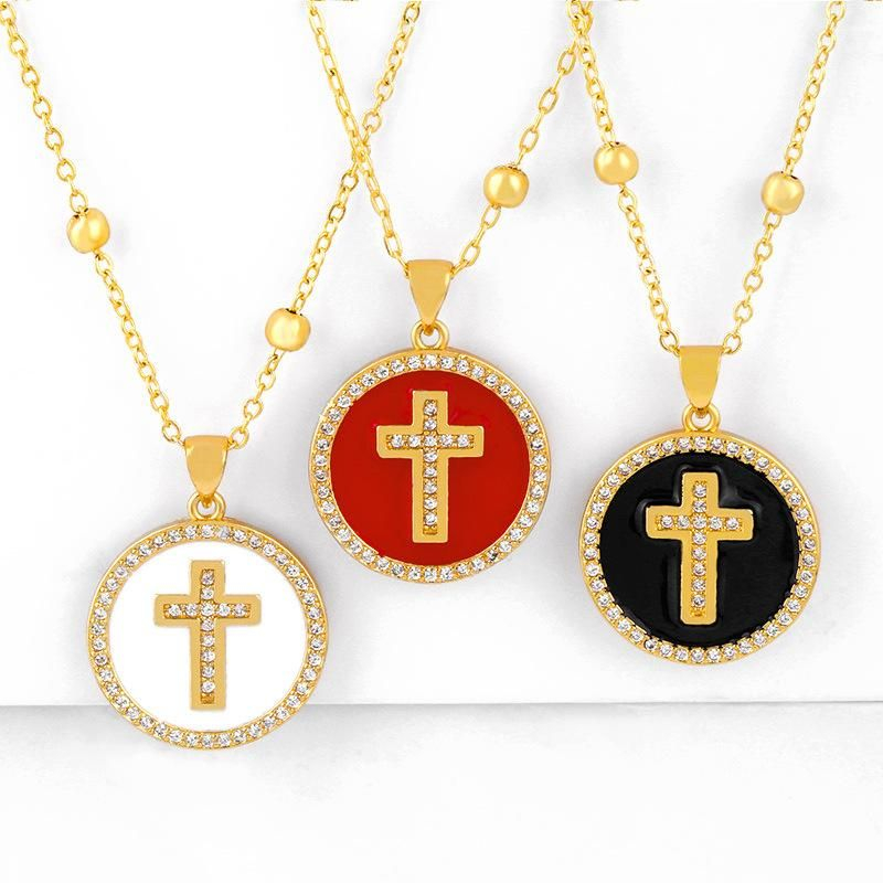 New fashion round cross pendant necklace jewelry light luxury necklace wholesale NHAS200961