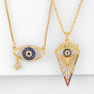 Fashion micro inlaid color zircon necklace simple female wild devil's eye pendant necklace jewelry NHAS200963's discount tags