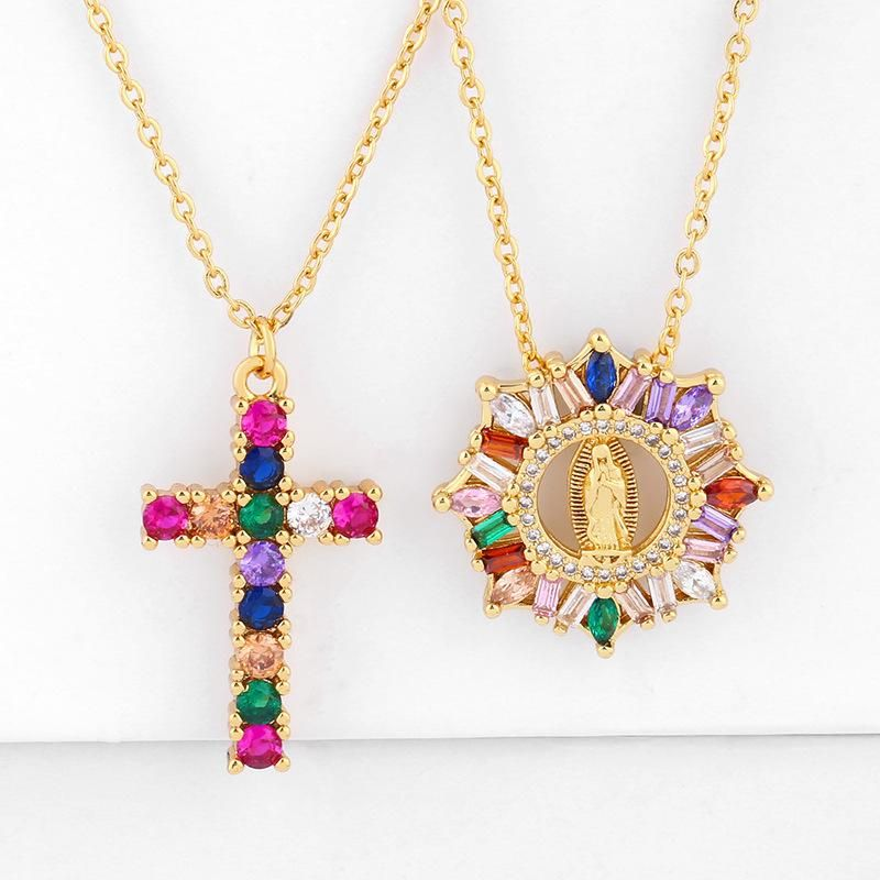 New necklace Cross Our Lady Pendant Necklace with Color Zircon Necklace NHAS200966