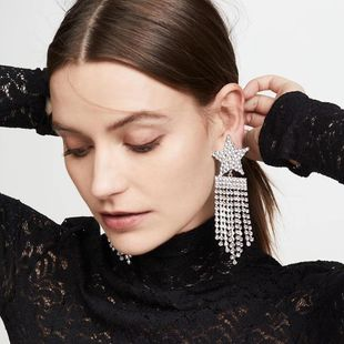 Joyería Geométrica Estrella aretes largos de borla Banquete de moda Salvaje Pendientes de diamantes completos NHMD200969's discount tags