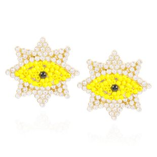 Personalized Creative Geometric Devil's Eye Stud Earrings Beads and Diamonds Fashion Earrings NHMD200970's discount tags