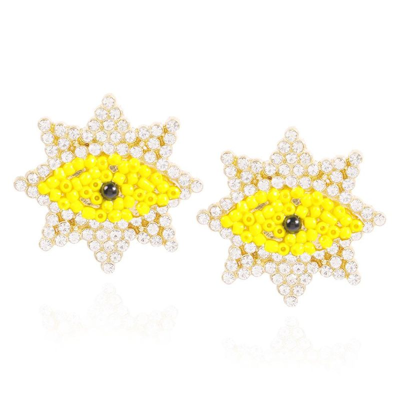 Personalized Creative Geometric Devil's Eye Stud Earrings Beads and Diamonds Fashion Earrings NHMD200970