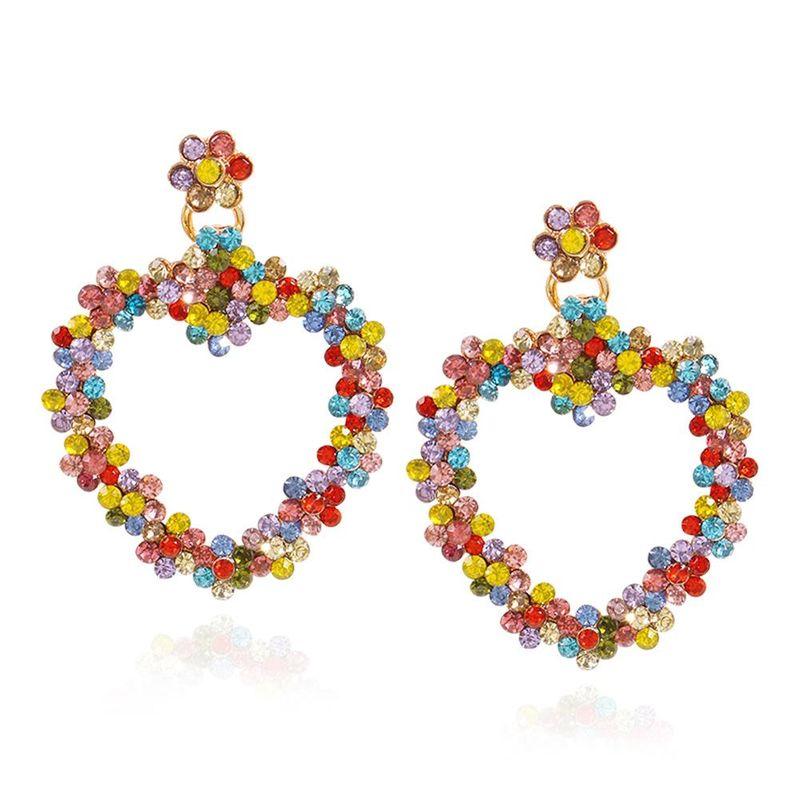 New Creative Geometric Love Earrings Fashion Color Diamond Flower Ear Studs Wild Earrings NHMD200972