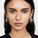 Creative geometric Cshaped stud earrings fashion new wild double row diamond earrings  NHMD200973