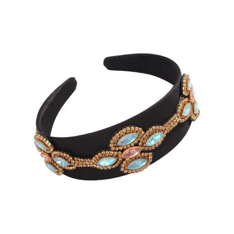 Retro Black Bottom Wide Hoop Creative Court Style Luxury Gem Headband Wholesale NHMD200978's discount tags