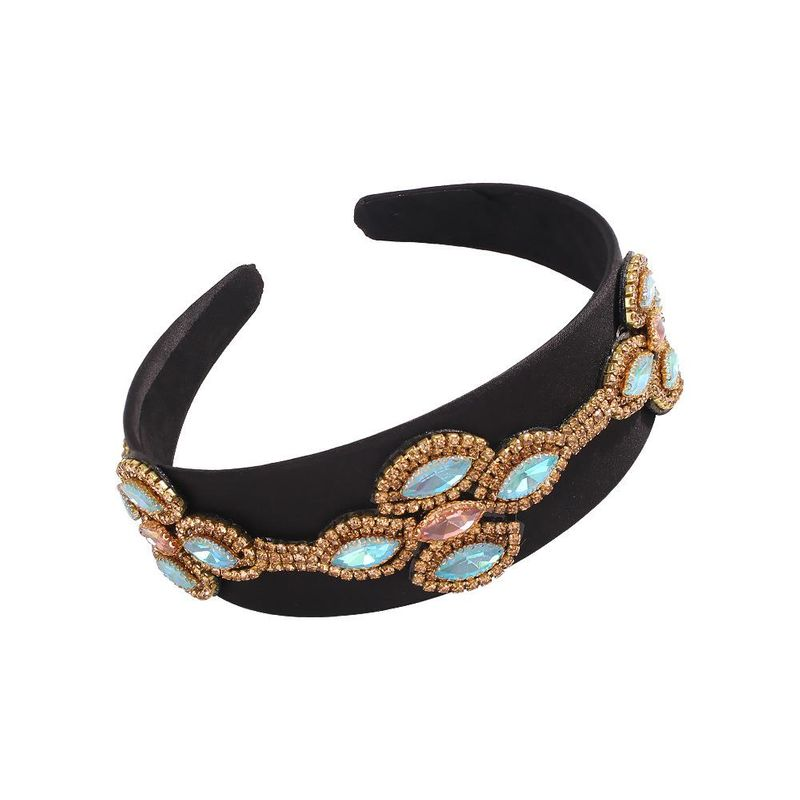 Retro Black Bottom Wide Hoop Creative Court Style Luxury Gem Headband Wholesale NHMD200978