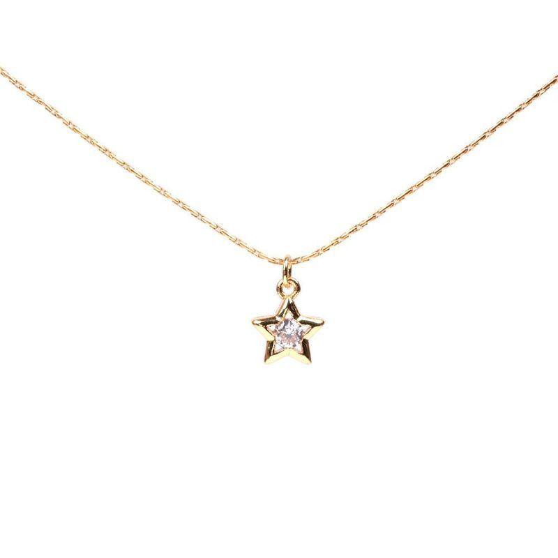 Simple Big Zircon Necklace Super Flashing Pentagram Star Pendant Clavicle Chain Women's Necklace NHPY200982