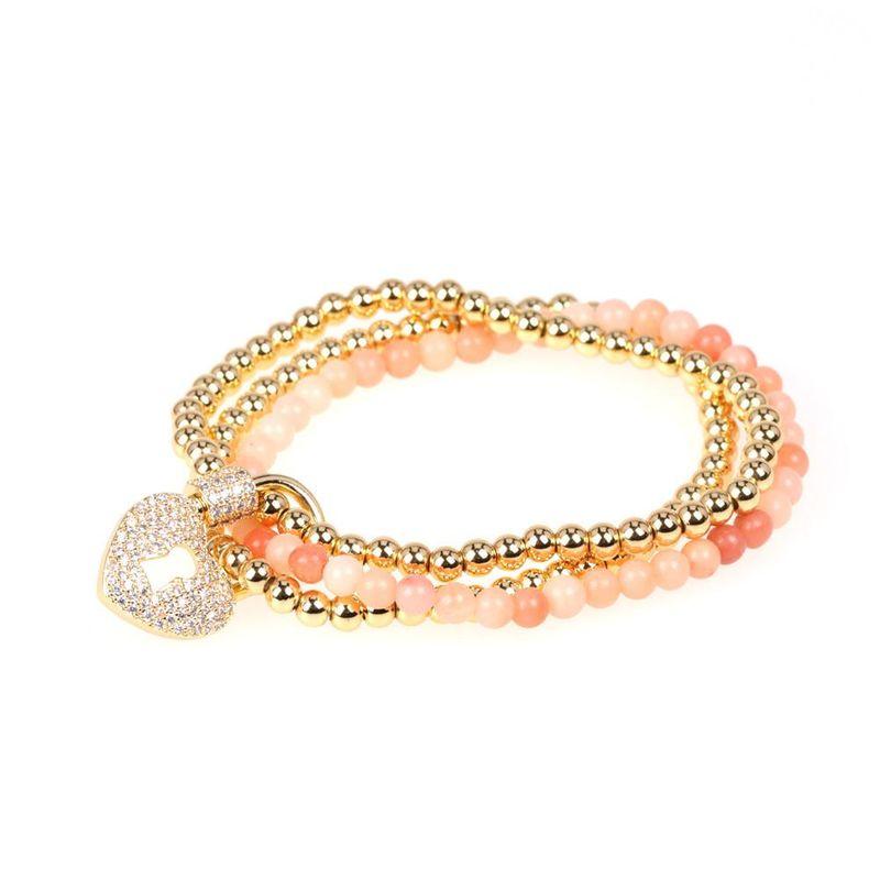 Bracelet Fashion Copper Bead Three-piece Semi-precious Stone Bracelet Micro-Set Zircon Peach Heart Love Lock Bracelet NHPY200986