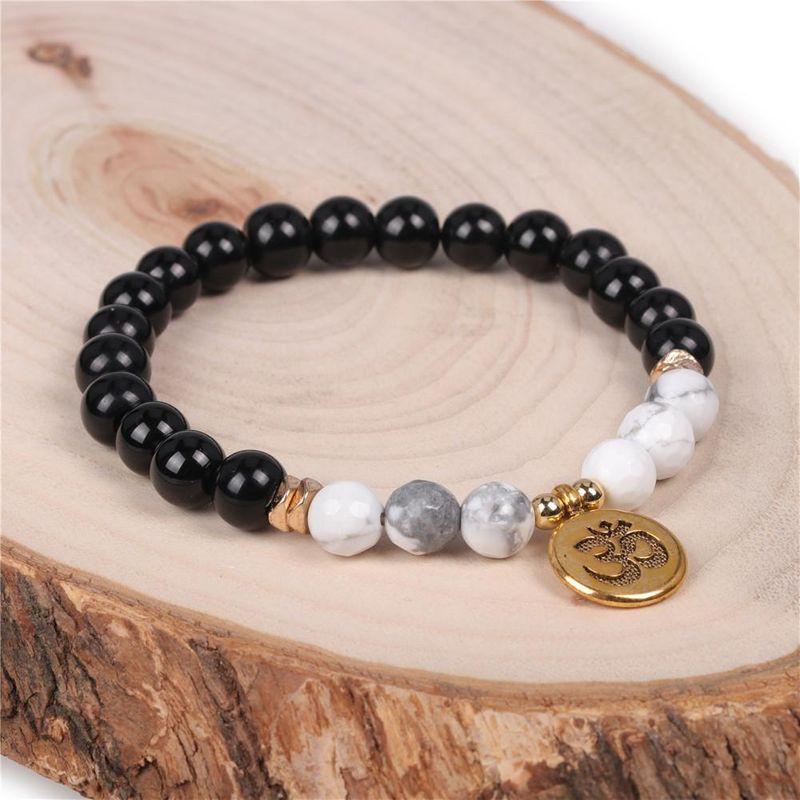 Black Onyx Beaded Bracelet Classic Men's and Women's Yoga Pendant Semi Precious Stone Stretch Bracelet NHPY200989