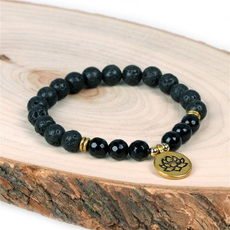 Classic Men's and Women's Energy Yoga Pendant Stretch Bracelet Volcanic Stone Beaded Bracelet NHPY200992