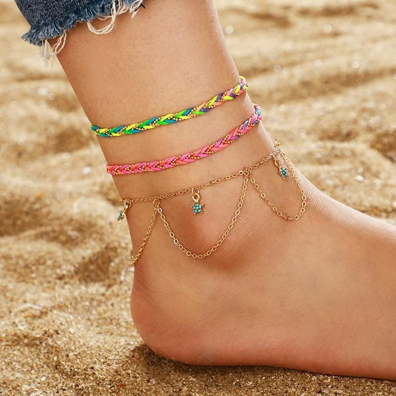 Bohemian color hand-woven blue stars tassel multilayer anklet cord rope anklet sleeve NHGY201015