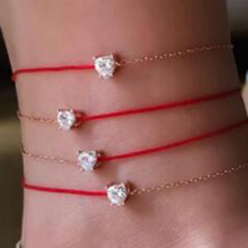 New Lucky Single Diamond Red Rope With Diamond Multilayer Foot Rope Heart Shaped Anklet Cover Wholesale NHGY201017