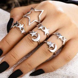 New Star Moon Ring 7 Piece Set Pentagram Open Joint Ring Set Set al por mayor NHGY201018