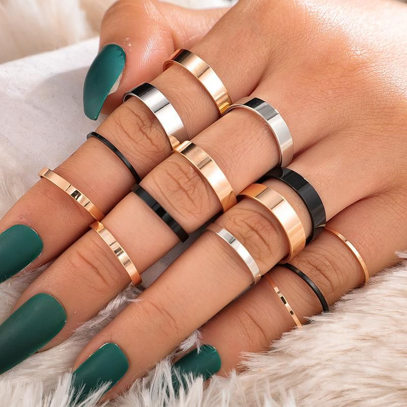 New ring creative fashion tri-color thickness ring 14-piece joint ring NHGY201020