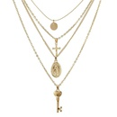 New Fashion Womens Multilayer Cross Key Man Head Pendant Necklace Wholesale NHGY201021