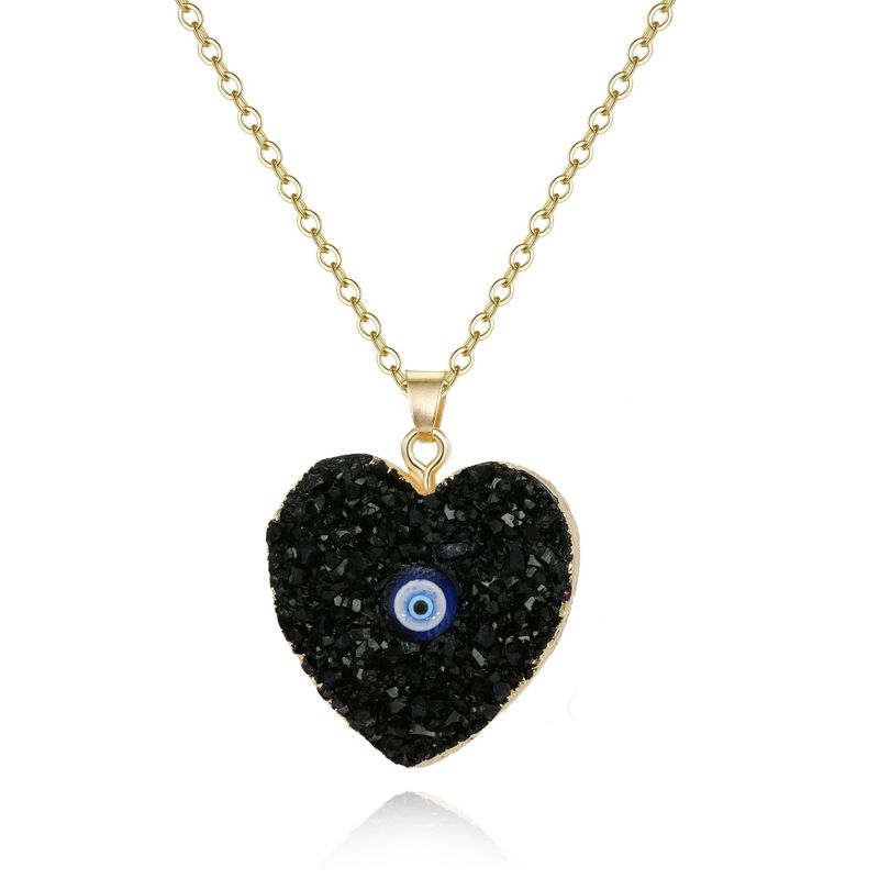 New style eye pendant necklace imitation natural stone love resin necklace wholesale NHGO201029