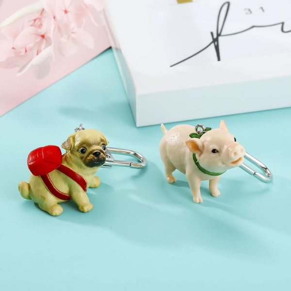 New cartoon keychain cute dog piggy keychain resin stereo animal bag pendant NHGO201035