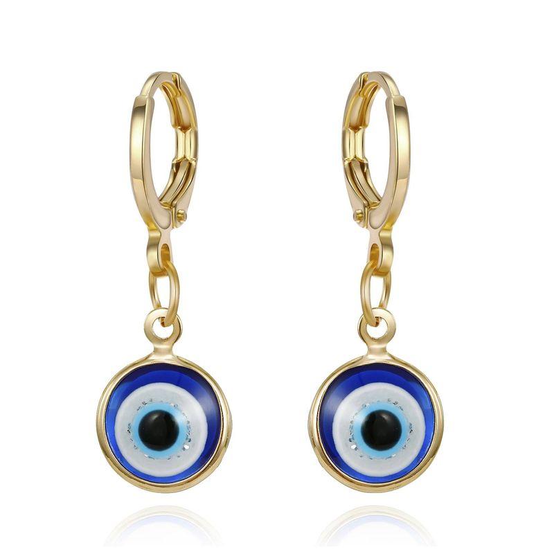 New Demon Eye Retro Simple Earrings Gold Round Resin Earrings NHGO201038