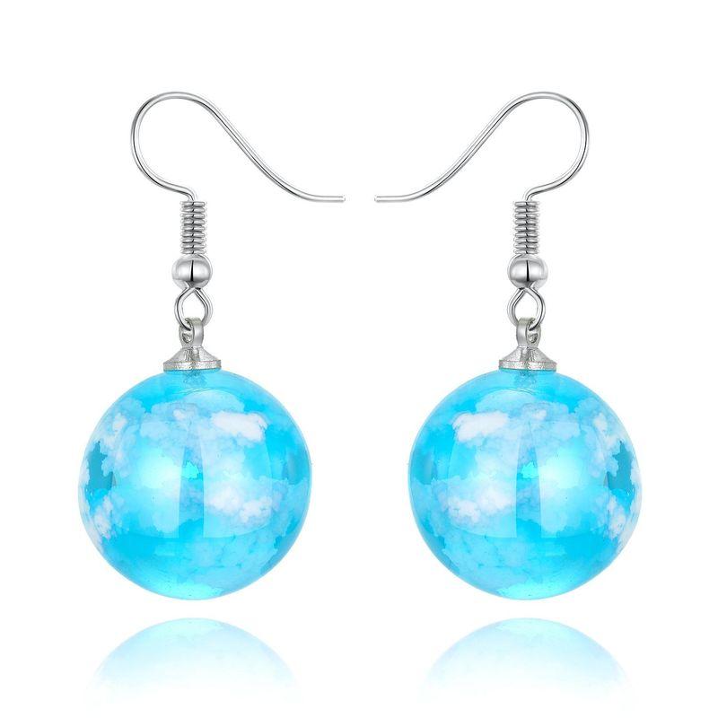 Jewelry Earrings Blue Sky White Cloud Ball Earrings Korea New Starry Bird Earrings Resin NHGO201040