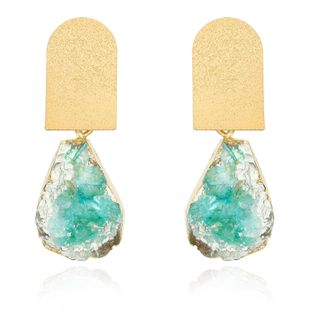 Jewelry earrings imitation natural stone earrings stone earrings water drop mineral resin earrings NHGO201041's discount tags
