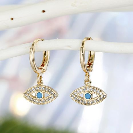 Gold Devil's Eye Earrings Turkish Zircon Earrings Point Diamond Earrings NHGO201042's discount tags