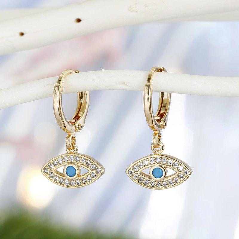 Gold Devils Eye Earrings Turkish Zircon Earrings Point Diamond Earrings NHGO201042