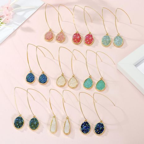 Jewelry scum earrings imitation natural stone earrings small crystal bud resin earrings NHGO201044's discount tags