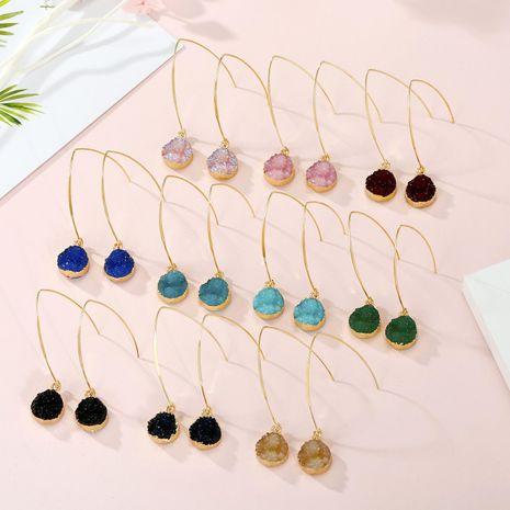 Joyas aretes simples pendientes de imitación pendientes de piedra natural redondos pequeños pendientes de resina de yema de cristal NHGO201045's discount tags