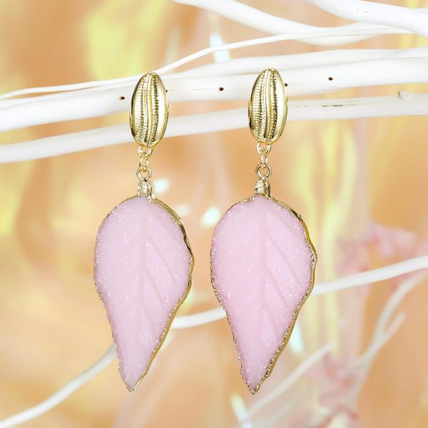 Jewelry New Earrings Imitation Natural Stone Earrings Long Leaf Earrings wholesales fashion NHGO201047