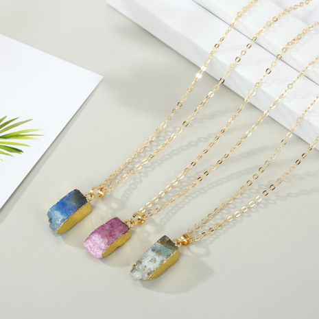 New Korea Geometric Natural Stone Necklace Irregular Rectangular Pendant Necklace NHGO201053's discount tags