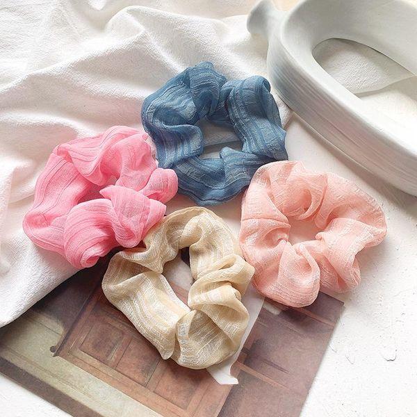 Sweet head flower silk yarn sheer gauze hair ring hair accessories college style headdress NHOF201065