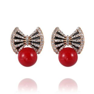Fashion women's earring new fashion bow diamond earrings wholesale NHVA201069's discount tags