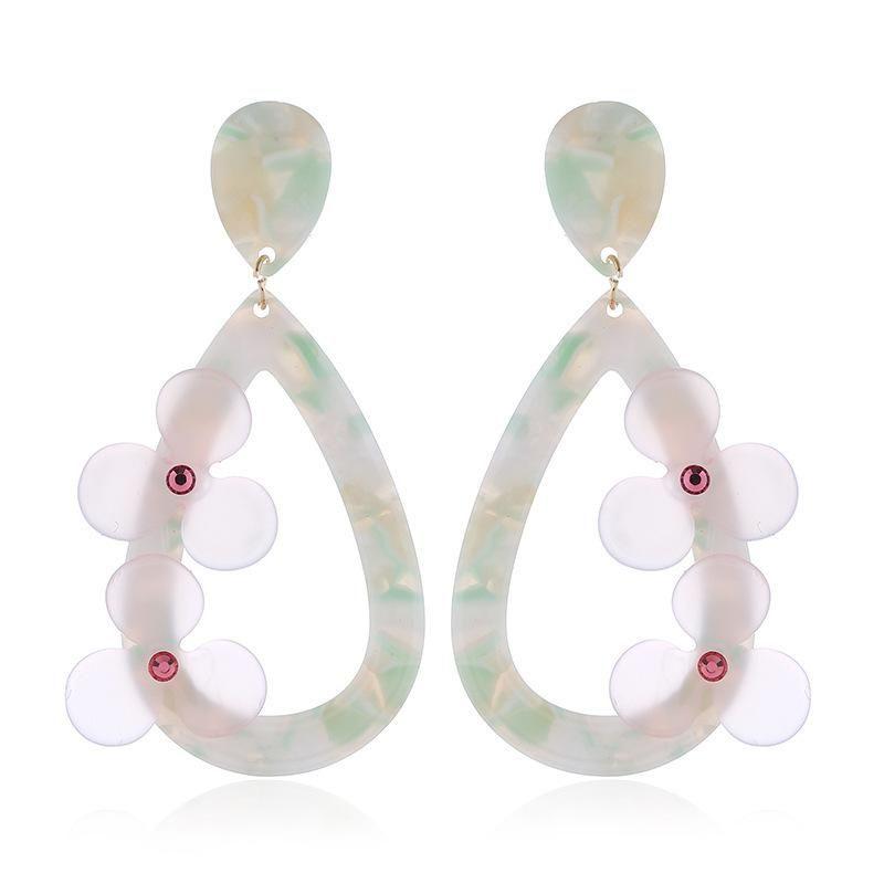 Fashion women's earring new flower ladies earring acrylic pink flower earrings NHVA201074
