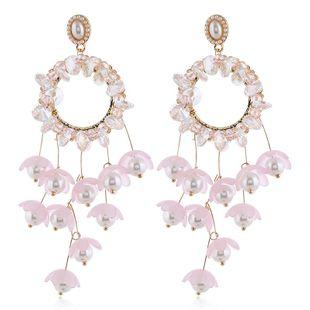 Pendiente de mujer de moda nueva moda larga flor borla pendientes al por mayor NHVA201077's discount tags