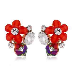 Fashion women's earring exaggerated fashion alloy earrings diamond flower earrings wholesale NHVA201079's discount tags