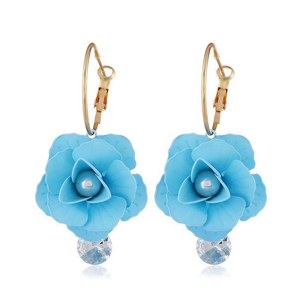 Fashion women's earring new retro flower gem pearl female earrings wholesale NHVA201086