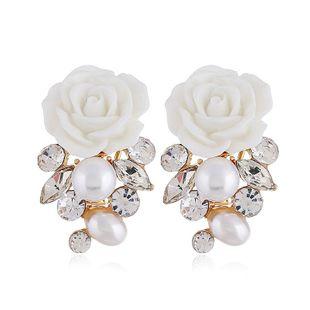 Pendiente de mujer de moda nuevos pendientes de perlas de diamantes de flores vintage NHVA201087's discount tags