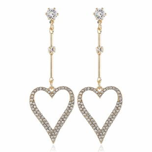 Fashion women's earring fashion exaggerated earrings long diamond heart love simple earrings NHVA201088's discount tags