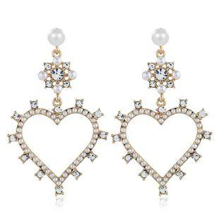 Pendientes retro de moda para mujer pendientes de aleación de diamantes pendientes de amor para mujer NHVA201089's discount tags