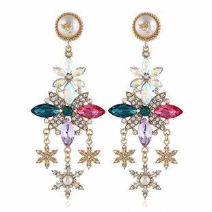 Pendientes retro de moda coreana pendientes mujeres moda aleación simple diamante multicolor pendientes al por mayor NHVA201094's discount tags