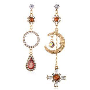 Pendientes de diamantes coreanos simples pendientes de luna estrella coreanos asimétricos femeninos NHVA201096's discount tags