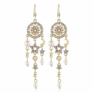 Exaggerated wild geometric long diamond earrings female temperament sexy pearl earrings wholesale NHVA201100's discount tags