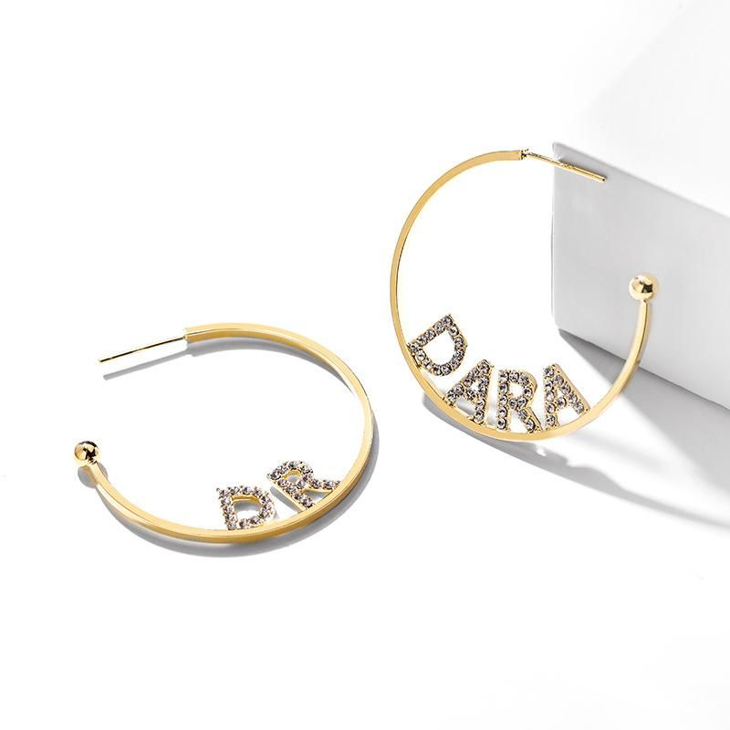 Fashion women's earring925 silver stitch alphabet wild earrings Korean exaggerated elegant simple earrings NHPP201109