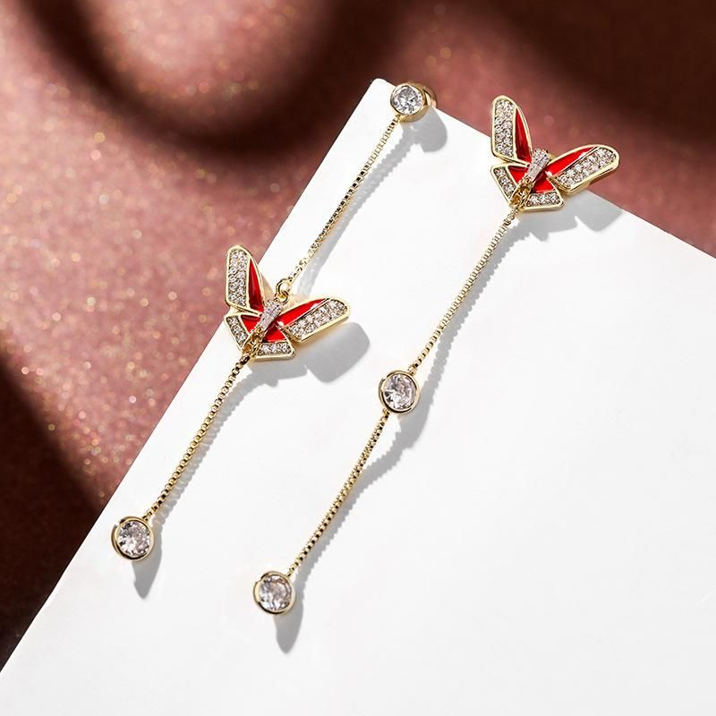 Fashion women's earring 925 silver needle elegant butterfly temperament earrings female new long tassel earrings NHPP201112