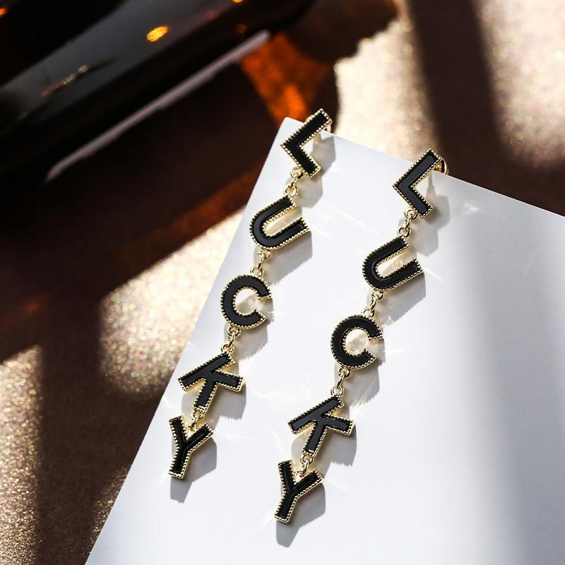 925 Silver Pin LUCKY Letter Long Earrings New Exaggerated Simple Earrings NHPP201120