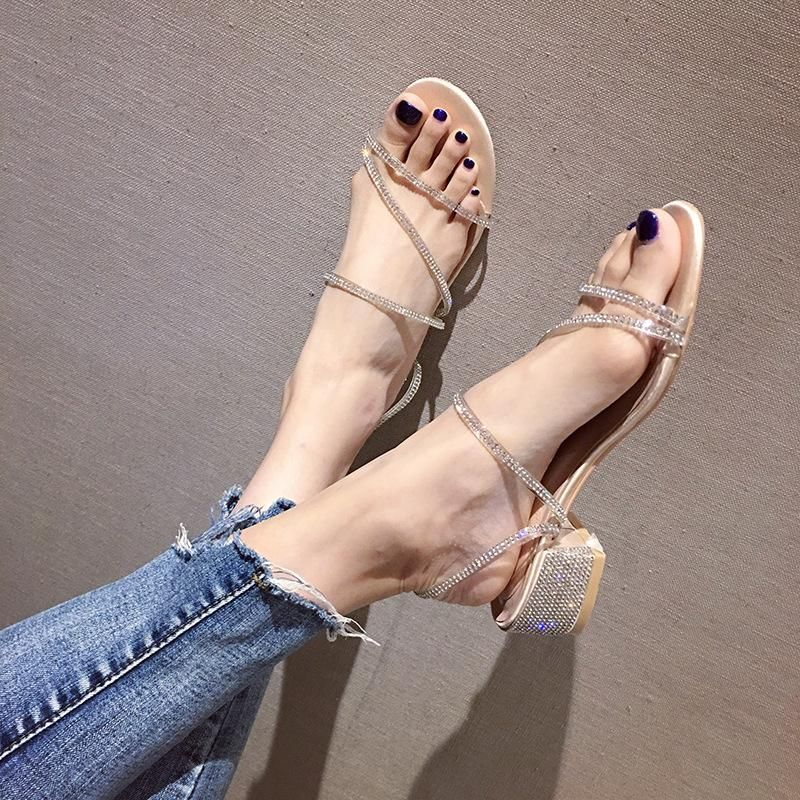 Summer Rhinestone Stiletto Heel Medium Heel Open Toe Lady Sandals Wholesale NHHU206262
