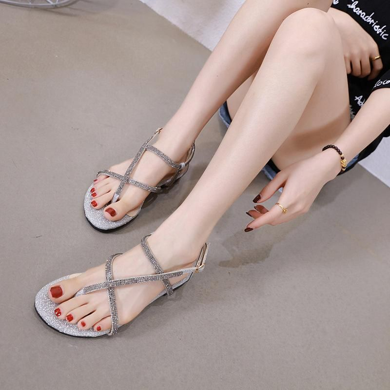 Korean summer new rhinestone cross thin strap toe flat-bottom Roman sandals wholesale NHHU206265