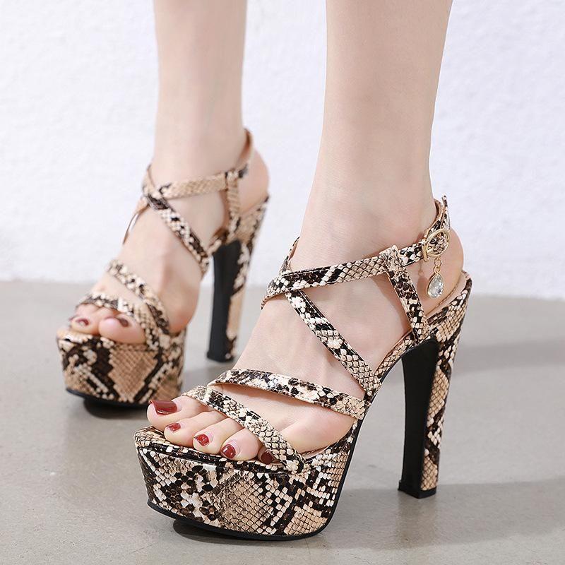 Super High Heel Platform Sandals 13cm Sexy Leopard Thick Heels High Heels Wholesale NHEH206275